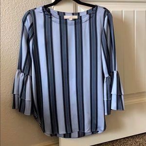 LOFT blue striped silk top